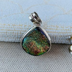 Titanium druzy quartz and sterling pendant